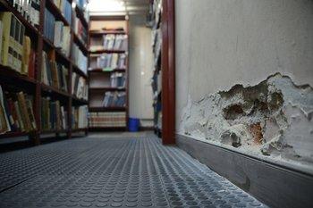 La biblioteca se inunda con aguas servidas y tiene humedad en las paredes