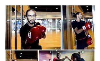 El Pelado Cáceres con los guantes de boxeo