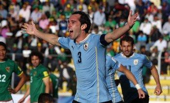 El festejo de Godín, autor del segundo gol en el partido del jueves 8 de octubre ante Bolivia en La Paz<br>