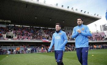 Messi y Suárez en la práctica a puertas abiertas