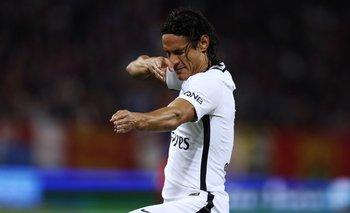 El salteño celebra uno de los goles anotados ante el Caen.<br>