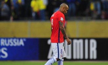 Arturo Vidal, uno de los referentes en el combinado rojo, en bajo nivel con la selección.<br>
