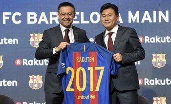 El presidente de Barcelona, Josep Maria Bartomeu, y el CEO de Rakuten, Hiroshi Mikitani