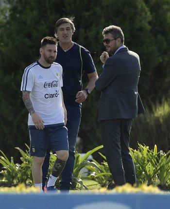 Messi y Tinelli en el predio de la AFA