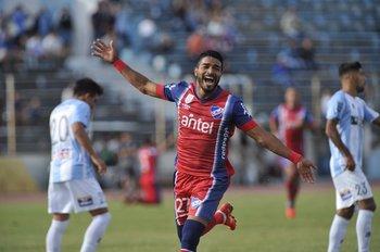 El festejo de Rodrigo Aguirre para el 1-0 de Nacional ante Cerro<br>