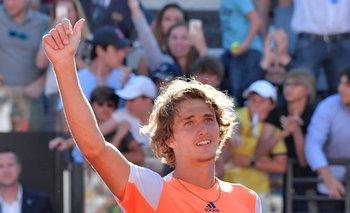 El festejo de Zverev tras vencer a Djokovic en la final