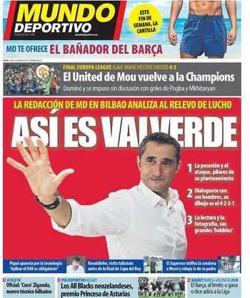 La portada del jueves del diario catalán Mundo Deportivo
