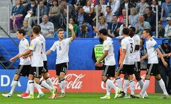 El festejo alemán tras el gol de Stindl