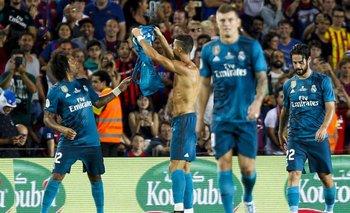 Ronaldo se sacó la camiseta en su gol y le mostraron la amarilla, luego se fue expulsado.