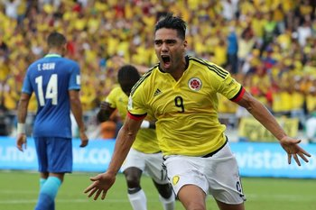 Falcao celebra el gol del empate ante Brasil