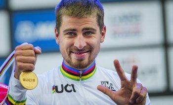 Peter Sagan festejando su tercer título mundial