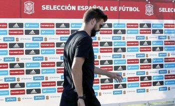 Piqué en Madrid, en su llegada a la concentración de la selección española este lunes, luego del referendum