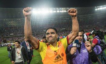 Radamel Falcao celebrando la clasificación a Rusia