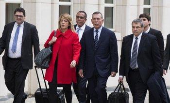 Juan Ángel Napout, expresidente de la Conmebol, en su llegada a la corte de Nueva York