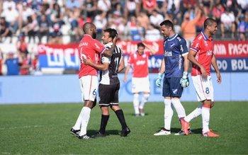 Rolín, Blanco, Conde y Arismendi en el partido del año pasado entre Wanderers y Nacional<br>