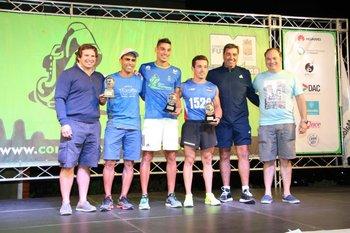 El podio de la 5K masculina que tuvo a Javier Marmo como ganador