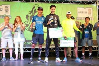 El podio masculino de la San Fernando 2018: Andrés Zamora, Federico Bruno y Cristhian Zamora