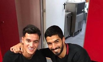 Coutinho y Suárez en el vestuario de Barcelona