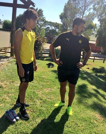 Agustín Canobbio con su nuevo DT, Leo Ramos