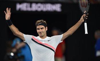 Festejo de Federer en su debut en Australia