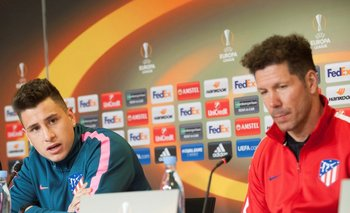 Giménez y Simeone en la conferencia previa al partido con Copenague