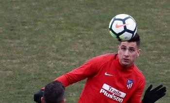 Giménez en un entrenamiento de Atlético de Madrid