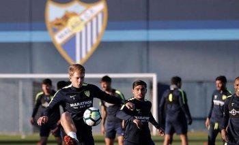 Gonzalo Castro durante el entrenamiento de Málaga<br>