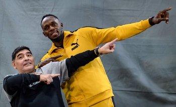 Bolt tomó clases con Maradona