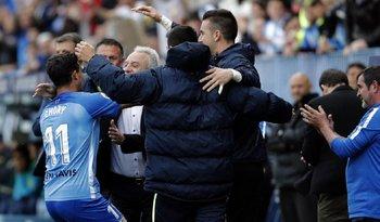 El festejo de Chory Castro en el gol de Málaga
