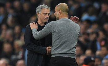El saludo de Mourinho y Guardiola al final del partido<br>