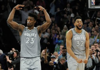Jimmy Butler y Karll-Anthony Towns