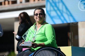 Lourdes Porro, ganadora femenina de la 21K en silla de ruedas