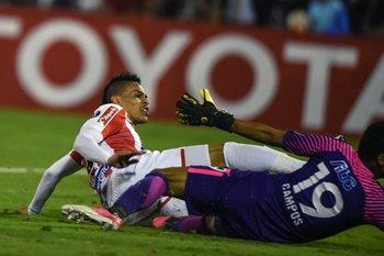 El uruguayo Jonathan Alvez autor de un gol para Junior de Barranquilla.<br>