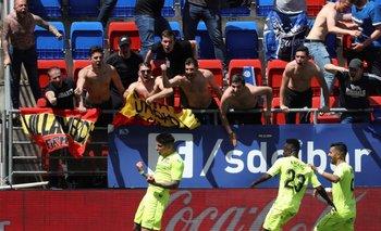 Mathías Olivera festeja su primer gol en Getafe