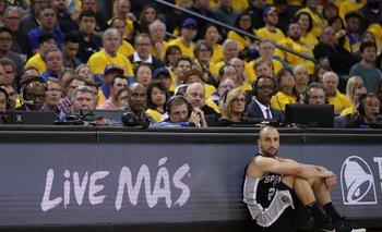 Manu en el último partido de la temporada 2017/18 para los Spurs
