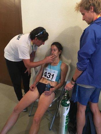 Pía tras correr en la altura de Cochabamba, donde obtuvo la medalla de plata