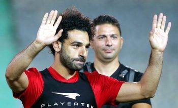 El saludo de Salah durante el entrenamiento de Egipto