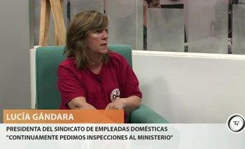 """<div>El caso de la empleada paraguaya que denunció que trabajaba 20 horas por día no es único y no ocurre solo con extranjeras, dijo la presidenta del Sindicato Único de Trabajadoras Domésticas, Lucía Gándara.</div><div>""""Muchos patrones después que te contratan, no te respetan los horarios"""", aseguró, y contó que el sindicato está apoyando a la denunciante.</div>"""