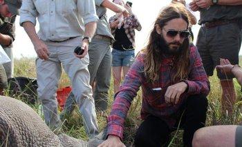 Jared Leto, durante su viaje a Sudáfrica, tocando un rinoceronte