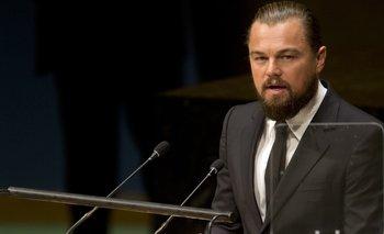 El actor Leonardo DiCaprio dando un discurso en la Cumbre sobre el Clima, en la sede de Naciones Unidas