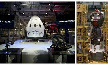 La nave Dragon V2 de SpaceX (izquierda), donde viajarán los astronautas, y la rusa Soyuz (derecha), en la que hoy se transportan a la Estación Espacial Internacional