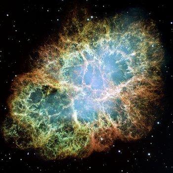Nebulosa del Cangrejo, resultado de la explosión de una supernova