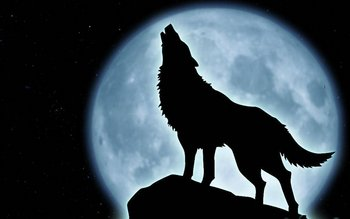 Típica ilustración de un lobo aullando a la Luna