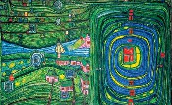 """El diseño elegido para esta campaña es la ilustración del artista austriaco Friedensreich Hundertwasser (1928-2000), en la que """"usa colores brillantes y formas orgánicas para expresar una reconciliación de los humanos con la naturaleza"""", según la FAO"""
