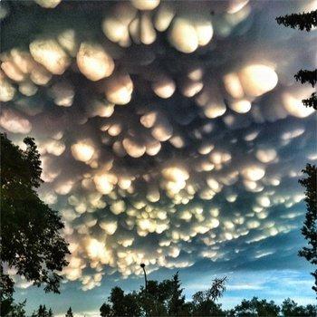 "Nubes ""mamuts"" sobre Saskatehewan, al oeste de Canadá."