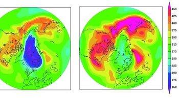 A la derecha, situación de la capa de ozono sobre el Ártico en abril de 2011. A la izquierda, como sería sin el Protocolo de Montreal