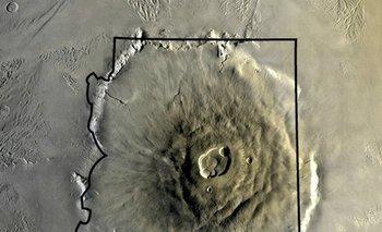 El Olympus Mons comparado con el estado de Arizona
